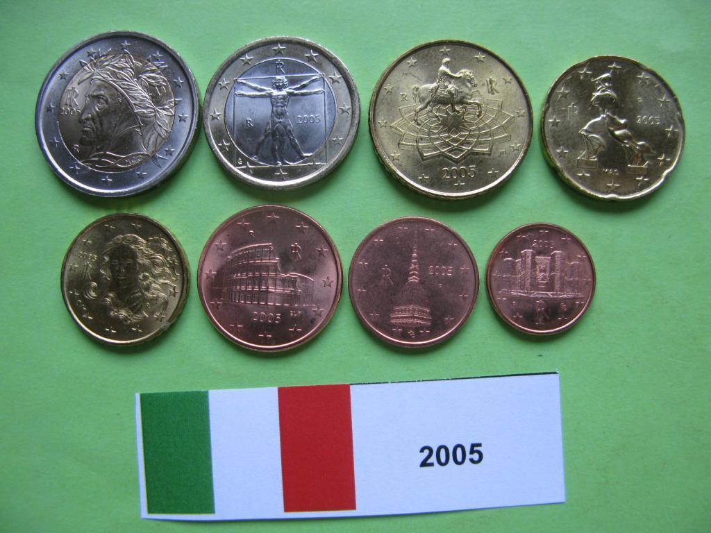 Италия, набор евро монет 2005 г. UNC.