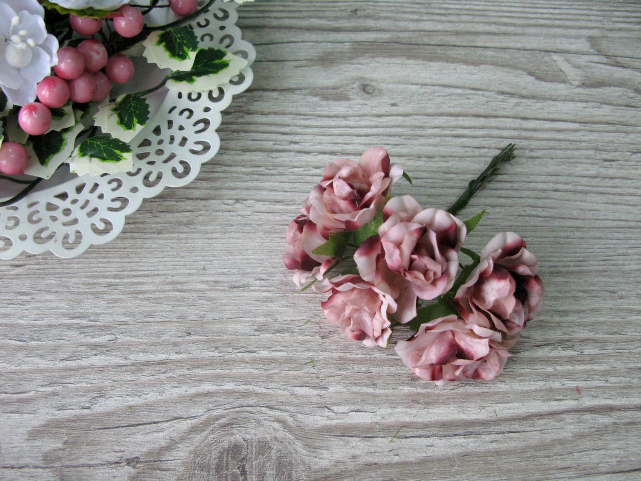 Роза тканевая пудровая (бежевая) 3.5 см пучок 6 шт - 20 грн