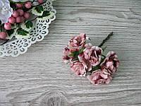 Роза тканевая пудровая (бежевая) 3.5 см пучок 6 шт - 20 грн, фото 1