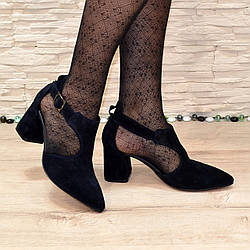Туфли женские синие замшевые на невысоком устойчивом каблуке