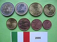 Италия, набор евро монет 2006 г. UNC.