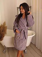 Домашний женский халат с поясом и капюшоном