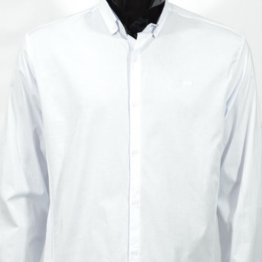 Сорочка чоловіча, приталена (Slim Fit), з довгим рукавом Bagarda BG6702 BEYAZ 93% бавовна 7% еластан XL(Р)