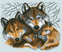 АМВ-106. Набір алмазної мозаїки Родина вовків.
