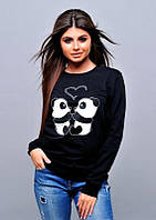 Черная кофта с мишками, свитшот с пандами Турция