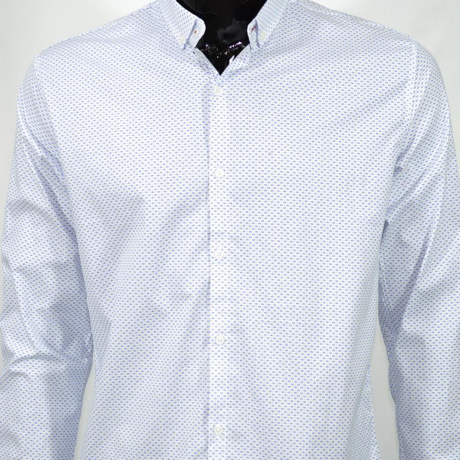 Сорочка чоловіча, приталена (Slim Fit), з довгим рукавом Bagarda BG6703 WHITE 93% бавовна 7% еластан M(Р)