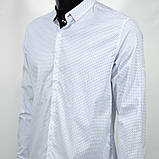 Сорочка чоловіча, приталена (Slim Fit), з довгим рукавом Bagarda BG6703 WHITE 93% бавовна 7% еластан M(Р), фото 2