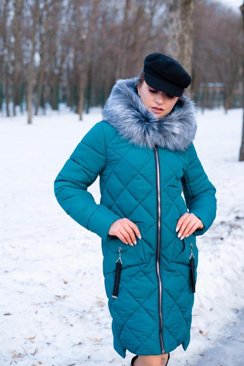 Стеганное зимнее пальто в ромбы