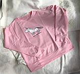 Нежно розовая кофта, свитшот с единорогом Турция, фото 3