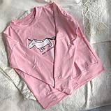 Нежно розовая кофта, свитшот с единорогом Турция, фото 7