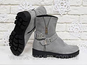 Ботинки женские Gino Figini Б-450-07 из натуральной замши 37 Серый, фото 2