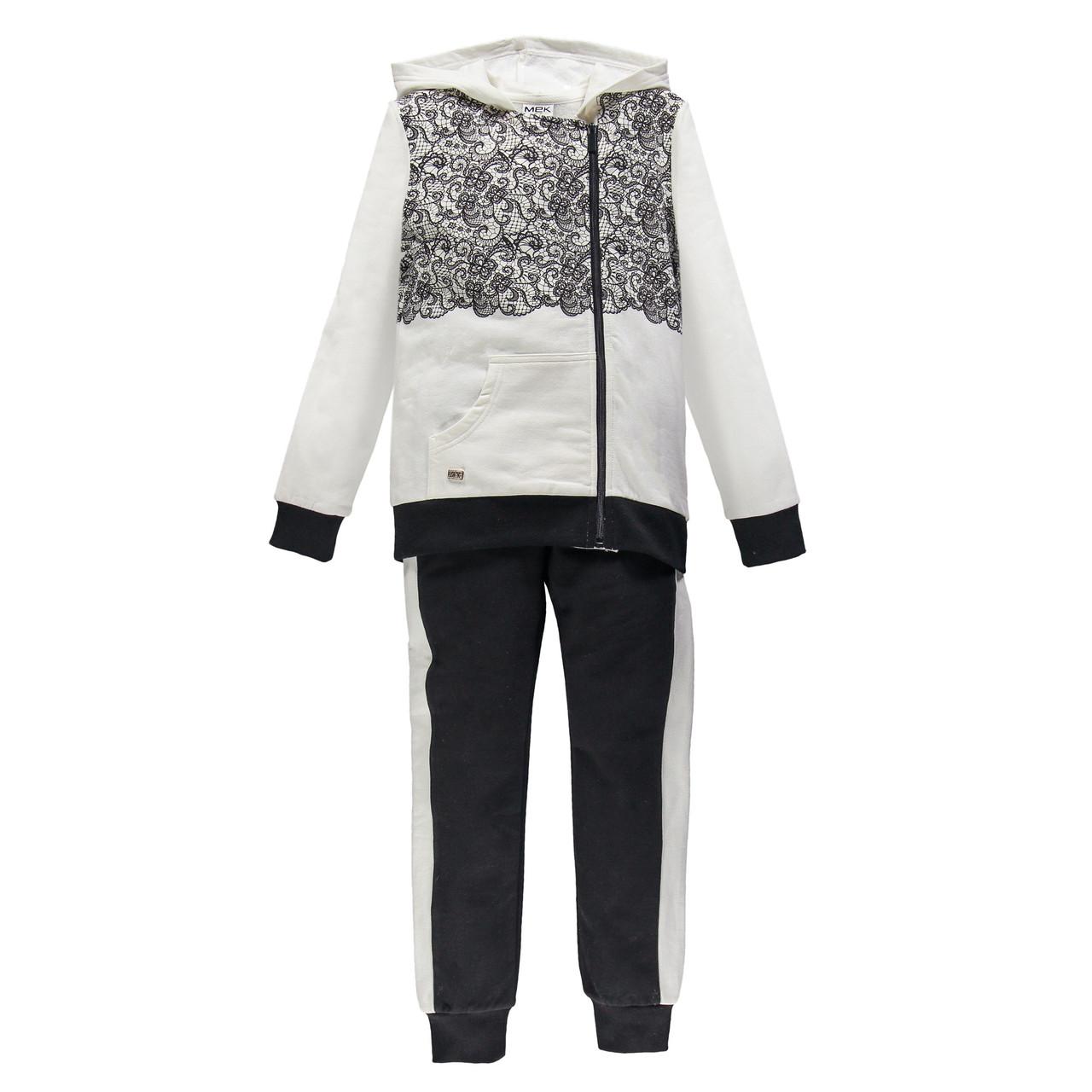 Спортивный костюм на молнии из матового флиса MEK 193MIEP004-919 чорный с белым 140, 170