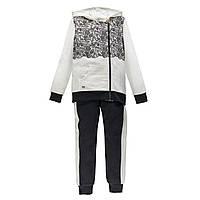 Спортивный костюм на молнии из матового флиса MEK 193MIEP004-919 чорный с белым 140, 170, фото 1