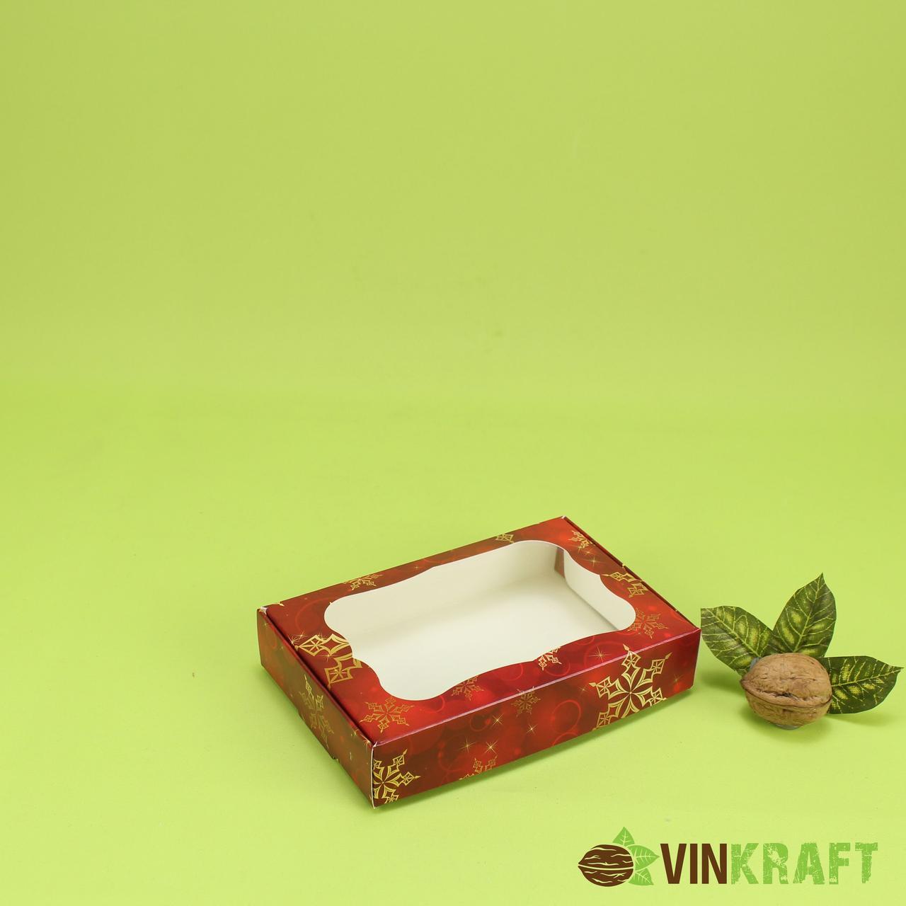 """Коробка 100*150*30 для пряника з вікном """"Сніг"""", червона"""