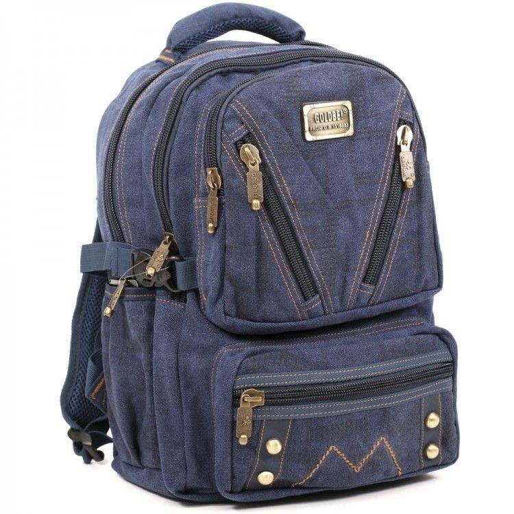 Джинсовый подростковый рюкзак Gold Be 28 x 42 x 15 см Синий (b255/2)
