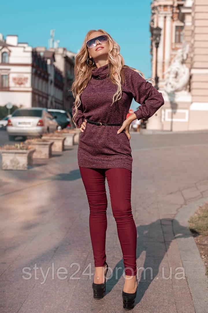 Жіночий брючний костюм з ангоровою тунікою та поясом ,3 кольори. Р-ри 50-56