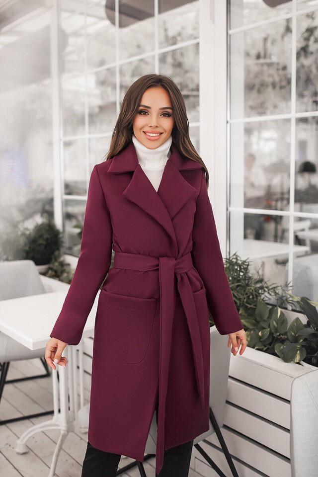 Женское осеннее пальто с поясом