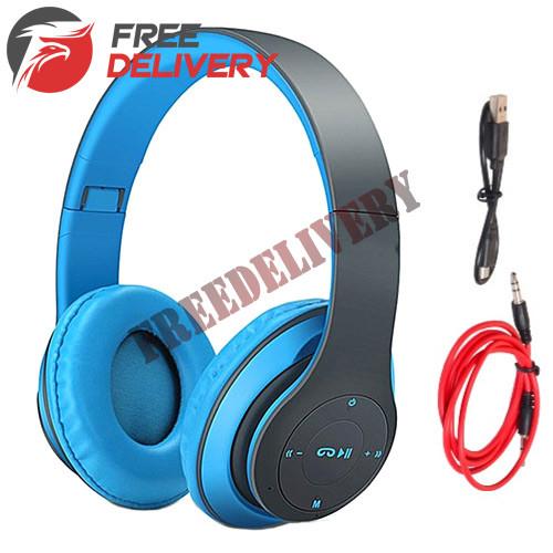 Наушники беспроводные Bluetooth гарнитура P15 MicroSD FM, синие