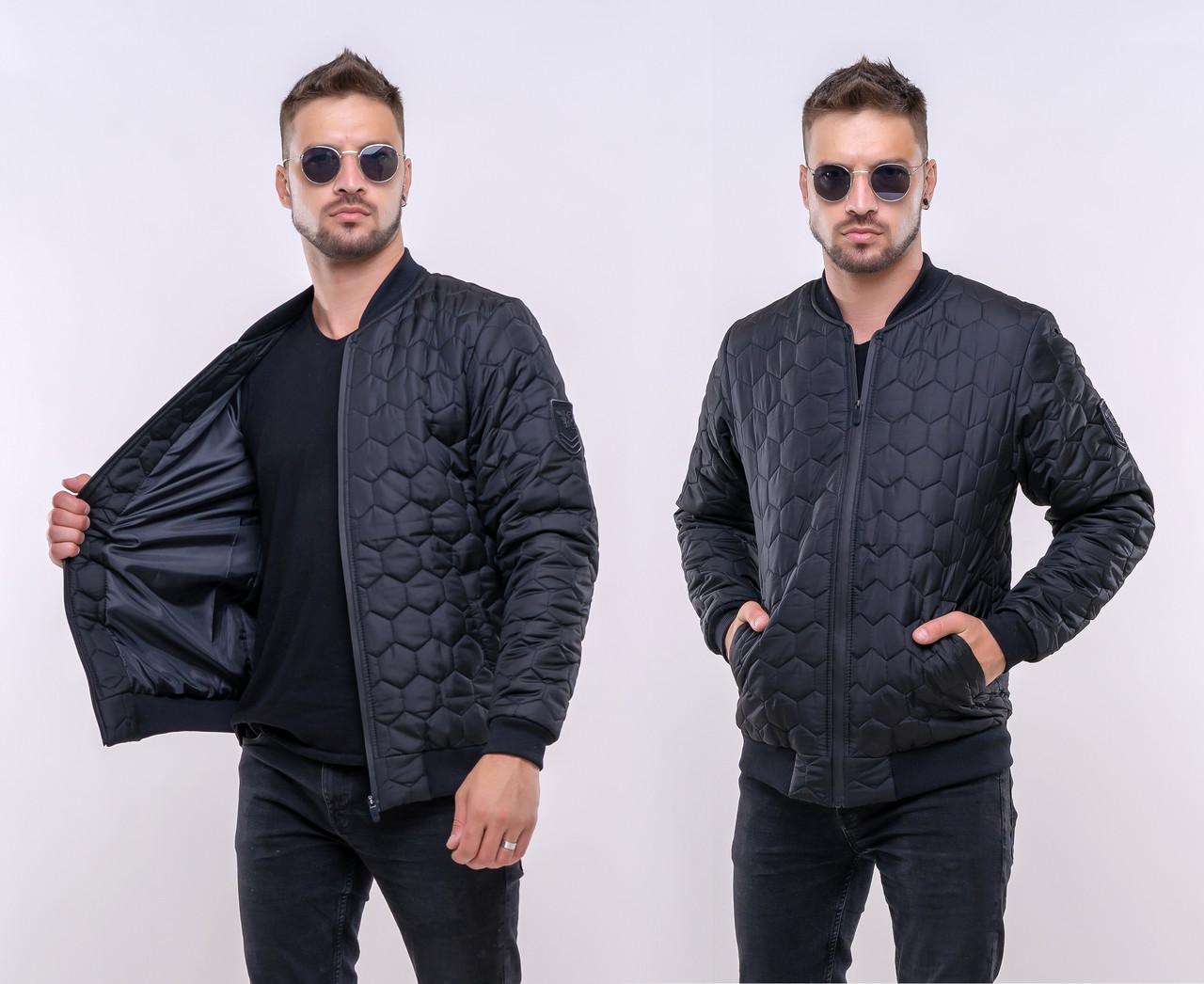 "Тёплая мужская куртка-бомбер синтепон 1226 ""Соты Шеврон"""