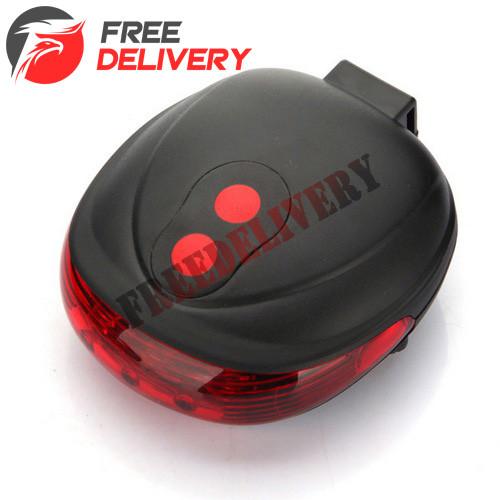 Фонарь на велосипед задний 5 LED 2 лазера, красный