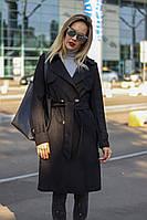 Замшевое женское пальто чёрное бежевое пудра, фото 1