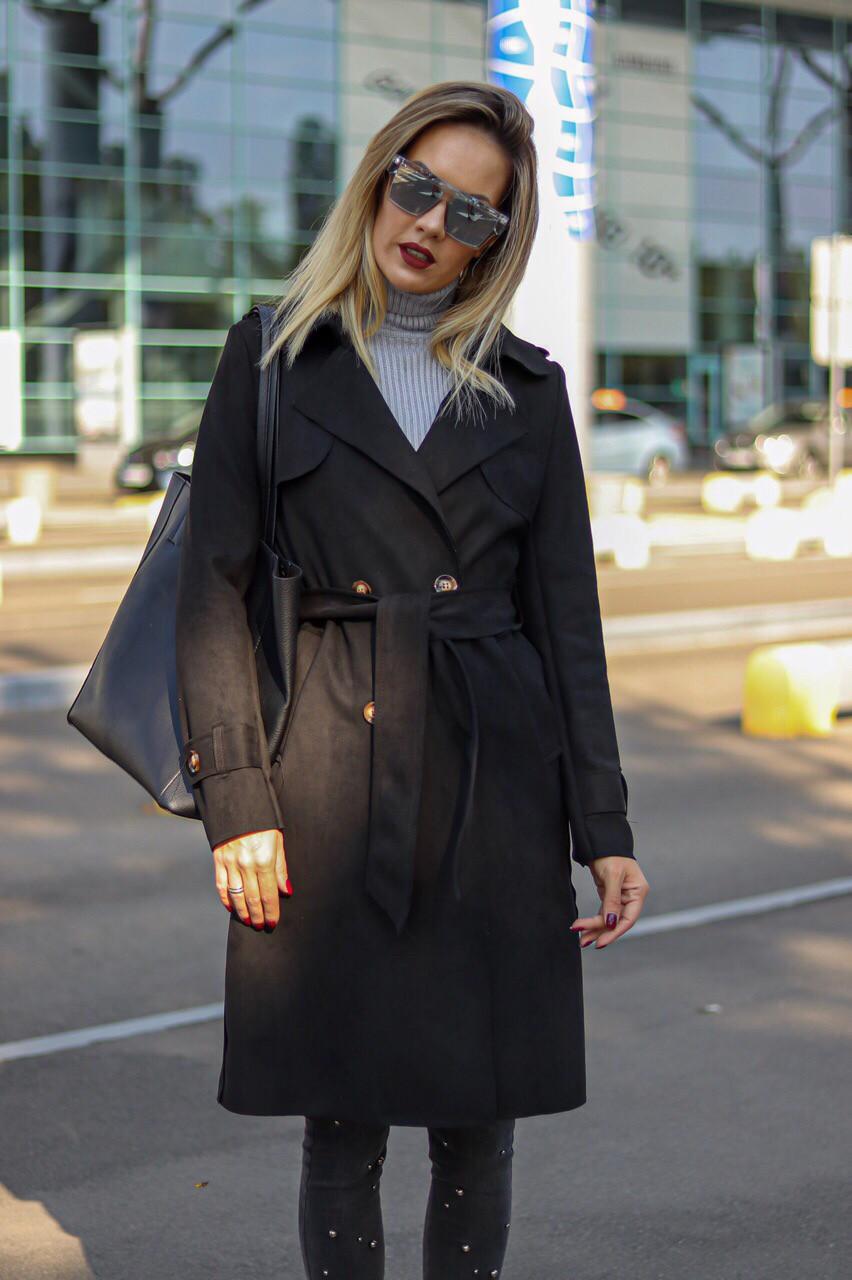 Замшевое женское пальто чёрное бежевое пудра