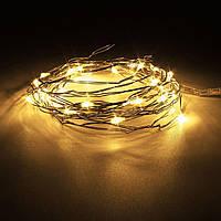 Светодиодная гирлянда нить 2м 20led на батарейках золотая теплая Gold Warm