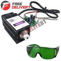 Мощный лазер для резки гравировки 500мВт 405нм TTL + защит. очки