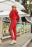Женский спортивный молодежный костюм: укороченный батник топ с капюшоном с лампасом и штаны, фото 2