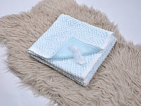 Ажурный вязанный плед на трикотаже, нежно-голубой, фото 1