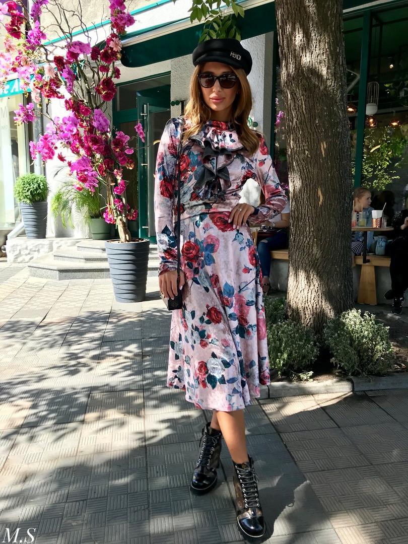 Женское стильное платье-миди с цветочным принтом, (48-52р-р)
