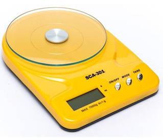 Весы кухонные электронные 7 кг, платформа стекло D15 см, 24,5×16,5 см SCA-301