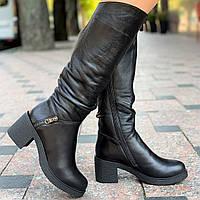 Сапоги, женские зимние кожаные черные (Код: М1550)