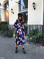 Стильное женское платье-миди с цветочным принтом(48-52 р-р)