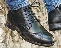 Демисезонные кожаные ботинки мужские классические Дезерты 084.1 черные теплые высокие