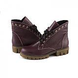 Бордовые кожаные ботинки на шнуровке, фото 2