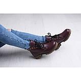 Бордовые кожаные ботинки на шнуровке, фото 3