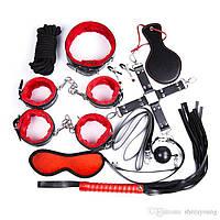 🍓Игривый наборчик садо-маза (10 позиций) | зажимы для сосков, маска для сна, наручники, кляп, секс игры, романтический вечер, БДСМ, доминирование,