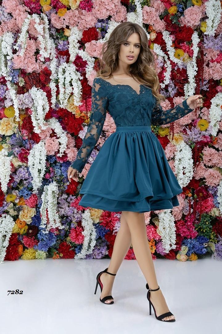 Вечернее пышное платье с длинным рукавом 42, 44, 46