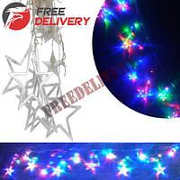 Гирлянда светодиодная новогодняя цветная Штора Звезды 138 LED 4.4м