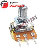 Резистор переменный, потенциометр WH148 B5K линейный 15мм 5кОм