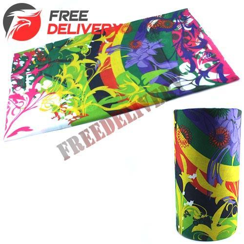 Бафф бандана-трансформер, шарф из микрофибры, цветы