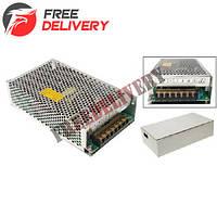 Блок питания перфорированный 12В 10А 120Вт, 2-кан для LED-лент CCTV