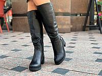 Сапоги, женские зимние кожаные черные (Код: М1550а)