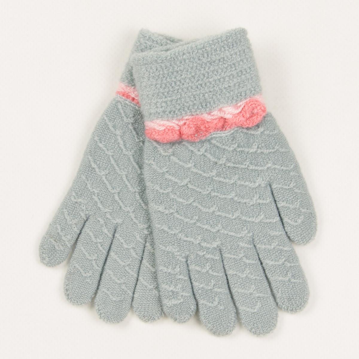 Перчатки для девочек на 2-3 года - 19-7-42 - Светло-серый