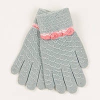 Перчатки для девочек на 2-3 года - 19-7-42 - Светло-серый, фото 1