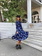 Женское модное платье-миди с принтом(48-52 р-р)