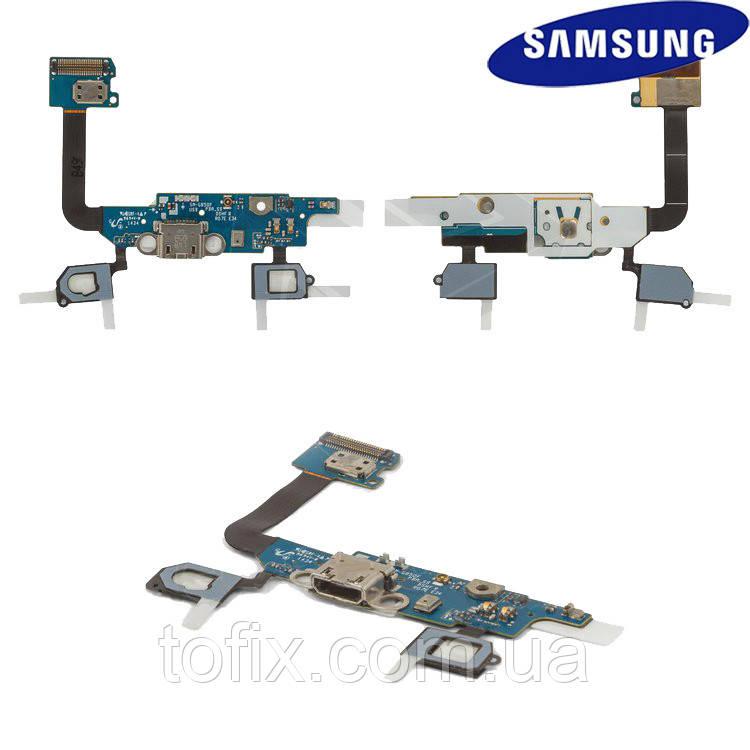 Шлейф для Samsung Galaxy Alpha G850F, коннектора зарядки, з компонентами, з мікрофоном, оригінал