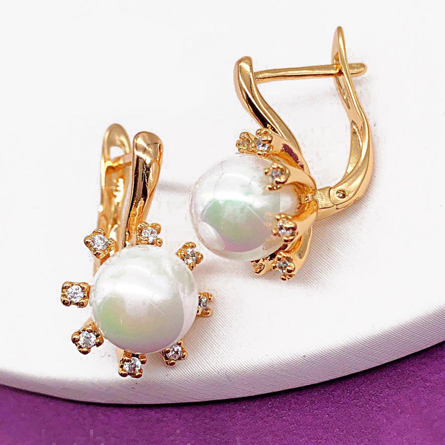 Сережки Xuping довжина 1.9см ширина 11мм з перлами медичне золото позолота 18К  с1175