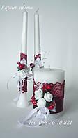 Набор свадебных свечей. Бордо\ марсала.